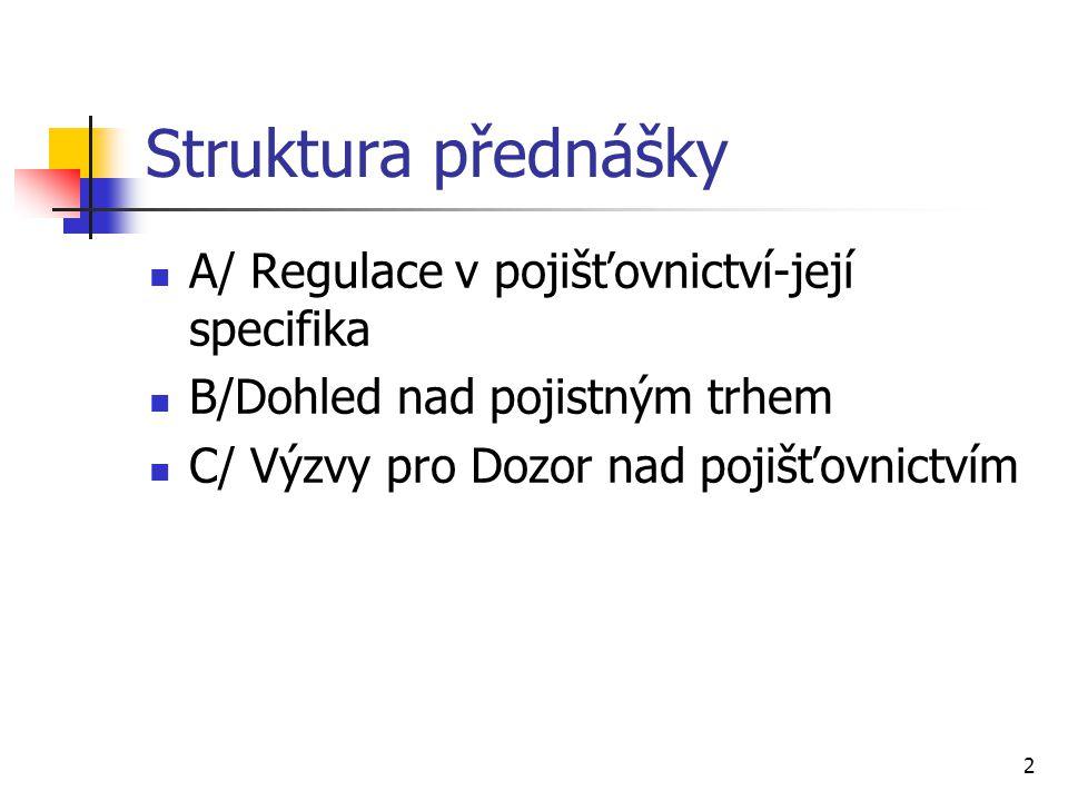 Struktura přednášky A/ Regulace v pojišťovnictví-její specifika