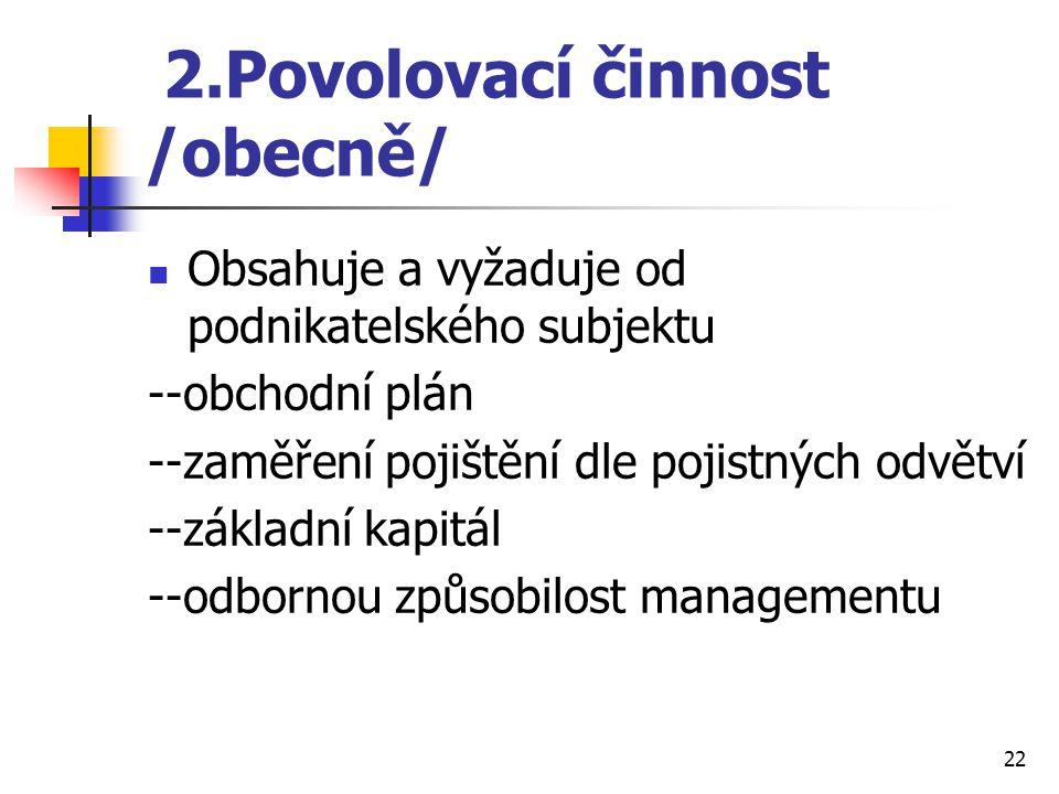 2.Povolovací činnost /obecně/