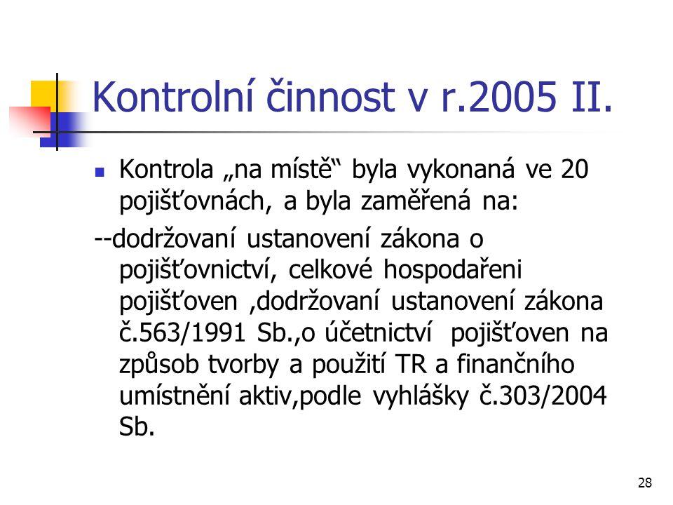 Kontrolní činnost v r.2005 II.