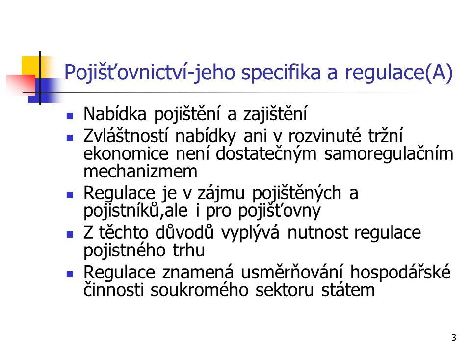 Pojišťovnictví-jeho specifika a regulace(A)