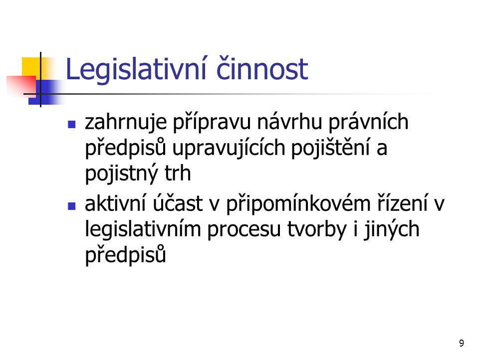 Legislativní činnost zahrnuje přípravu návrhu právních předpisů upravujících pojištění a pojistný trh.