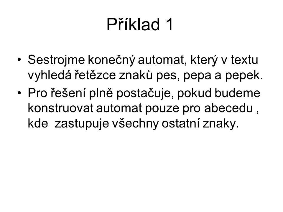 Příklad 1 Sestrojme konečný automat, který v textu vyhledá řetězce znaků pes, pepa a pepek.