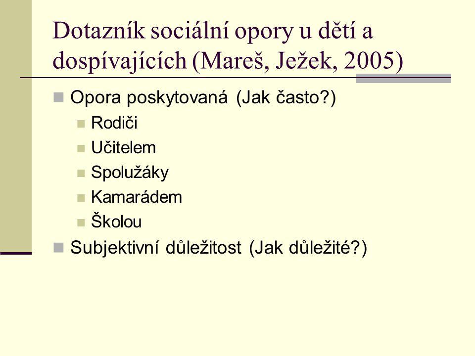 Dotazník sociální opory u dětí a dospívajících (Mareš, Ježek, 2005)
