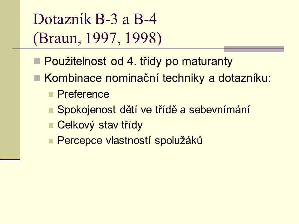 Dotazník B-3 a B-4 (Braun, 1997, 1998)