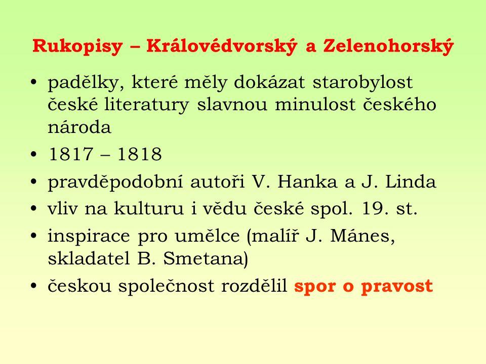 Rukopisy – Královédvorský a Zelenohorský