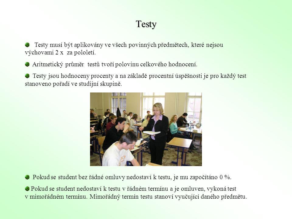 Testy Testy musí být aplikovány ve všech povinných předmětech, které nejsou výchovami 2 x za pololetí.