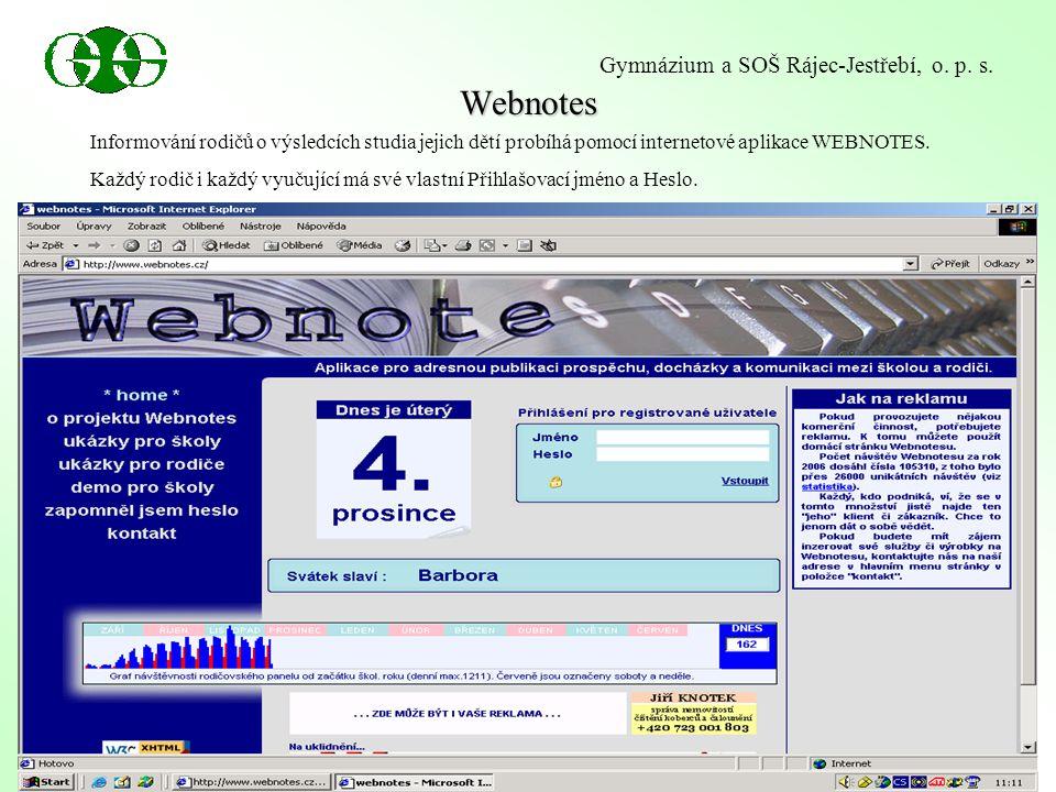 Webnotes Gymnázium a SOŠ Rájec-Jestřebí, o. p. s.