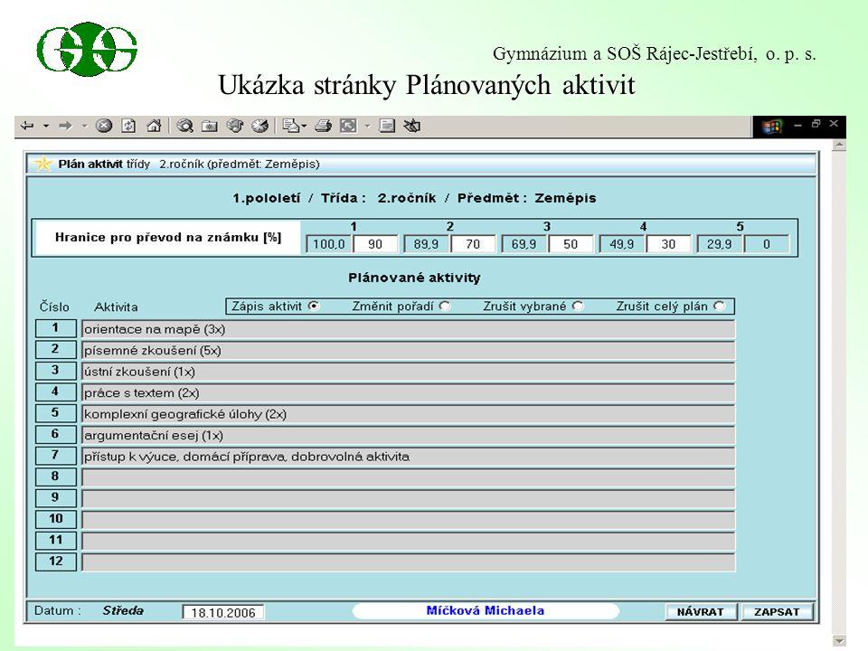 Ukázka stránky Plánovaných aktivit