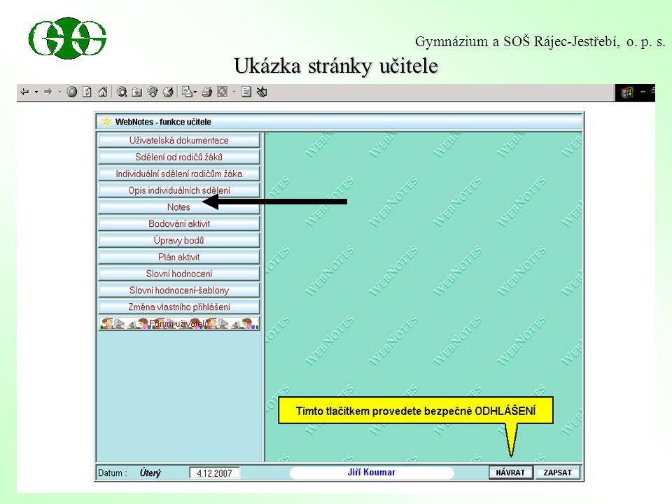 Ukázka stránky učitele