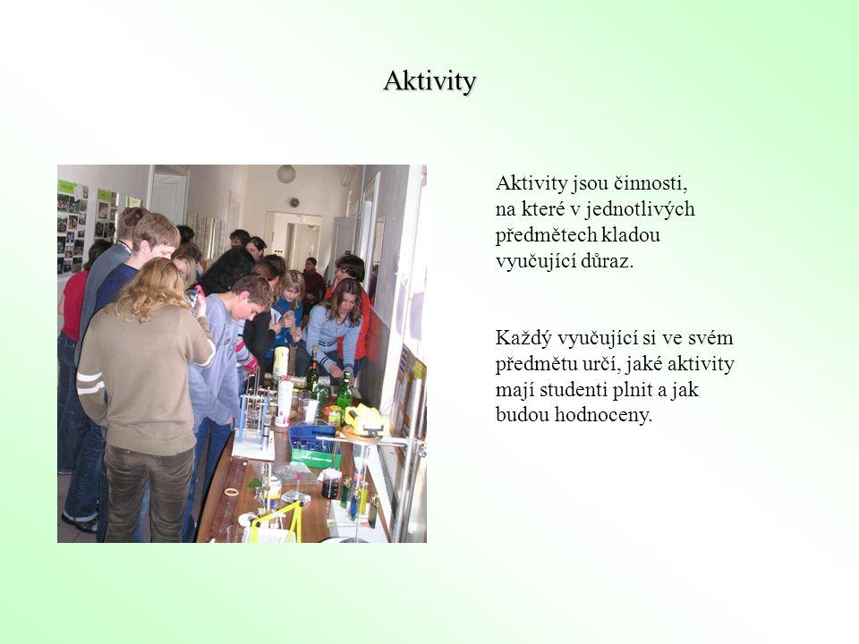 Aktivity Aktivity jsou činnosti, na které v jednotlivých předmětech kladou vyučující důraz.