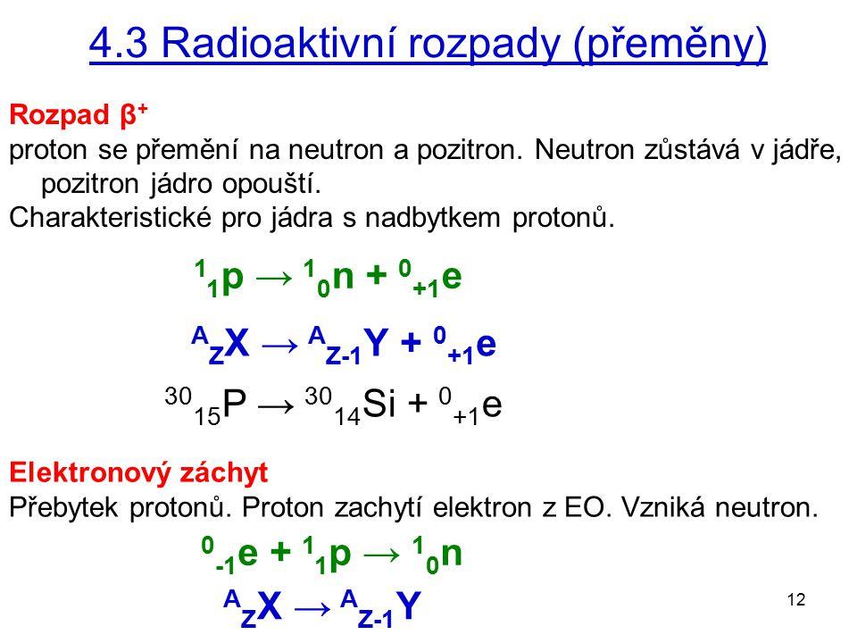 4.3 Radioaktivní rozpady (přeměny)