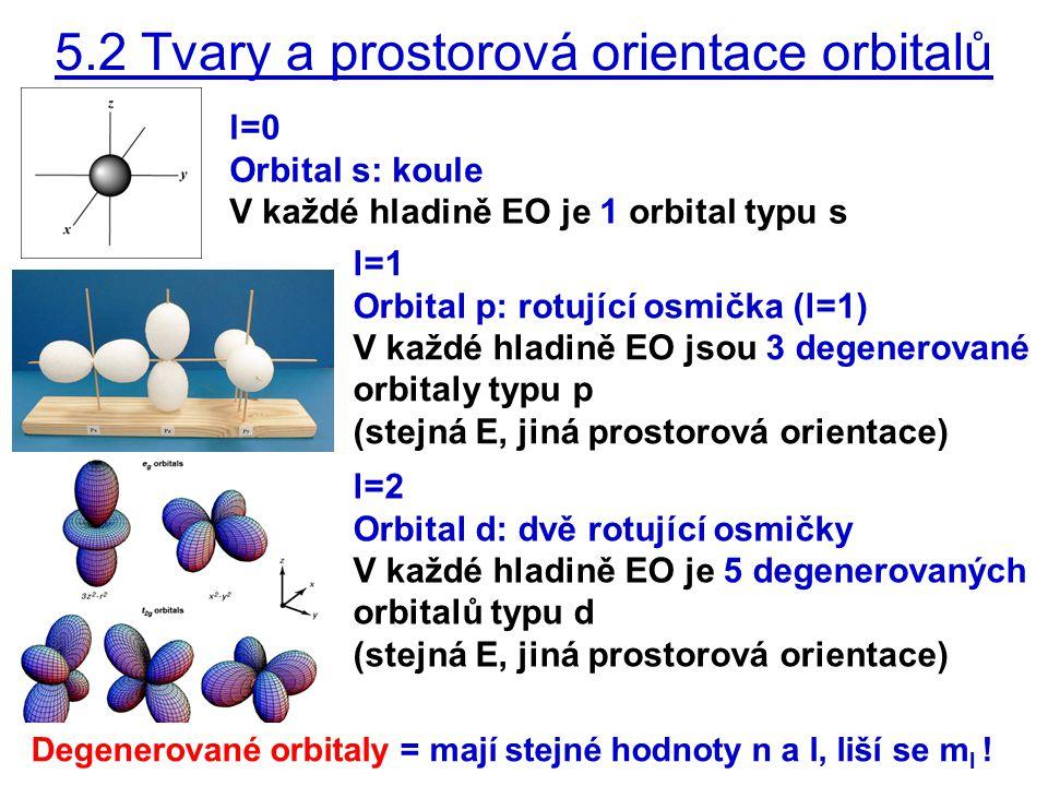 5.2 Tvary a prostorová orientace orbitalů