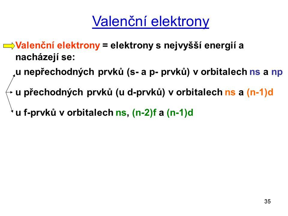 Valenční elektrony Valenční elektrony = elektrony s nejvyšší energií a nacházejí se: u nepřechodných prvků (s- a p- prvků) v orbitalech ns a np.