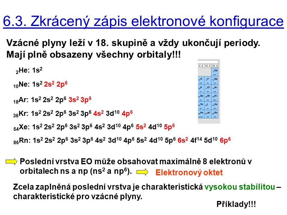 6.3. Zkrácený zápis elektronové konfigurace