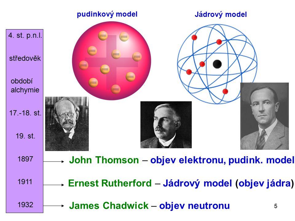 John Thomson – objev elektronu, pudink. model
