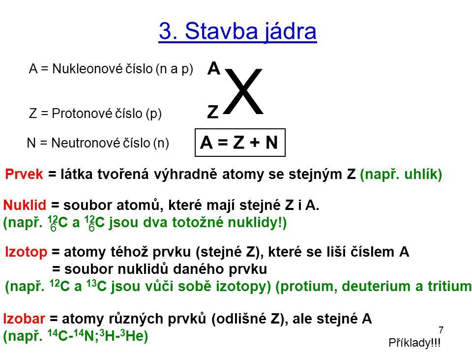 3. Stavba jádra X. A. A = Nukleonové číslo (n a p) Z. Z = Protonové číslo (p) A = Z + N. N = Neutronové číslo (n)