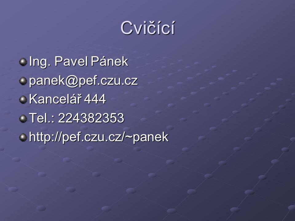 Cvičící Ing. Pavel Pánek panek@pef.czu.cz Kancelář 444 Tel.: 224382353