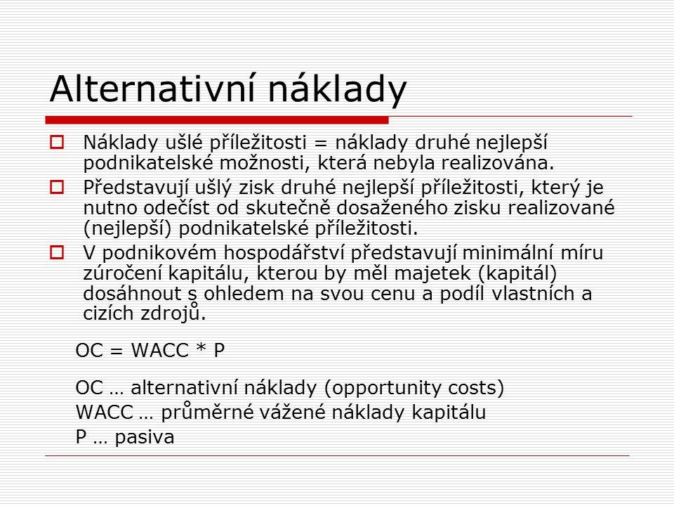 Alternativní náklady Náklady ušlé příležitosti = náklady druhé nejlepší podnikatelské možnosti, která nebyla realizována.