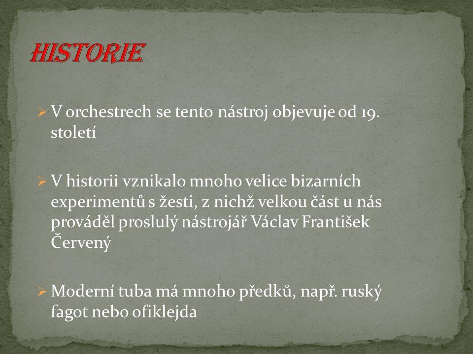 Historie V orchestrech se tento nástroj objevuje od 19. století