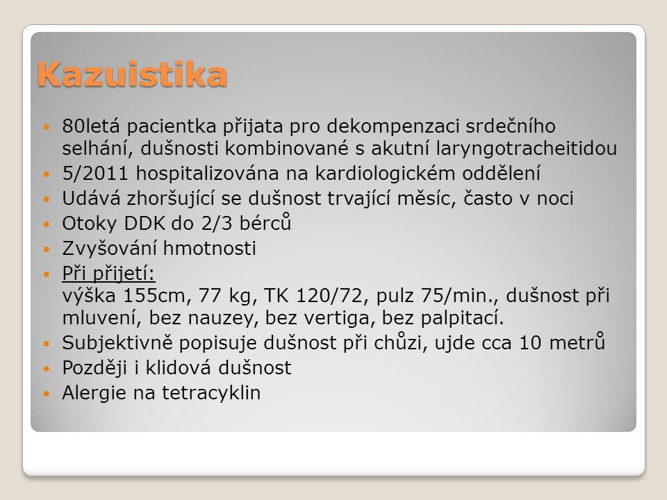 Kazuistika 80letá pacientka přijata pro dekompenzaci srdečního selhání, dušnosti kombinované s akutní laryngotracheitidou.