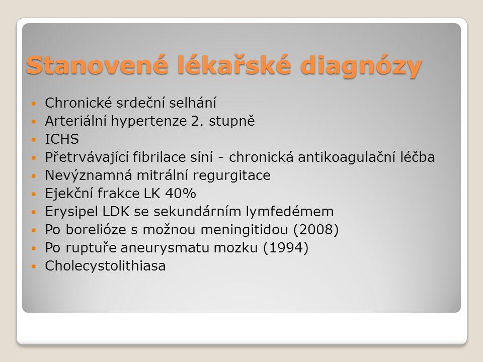 Stanovené lékařské diagnózy