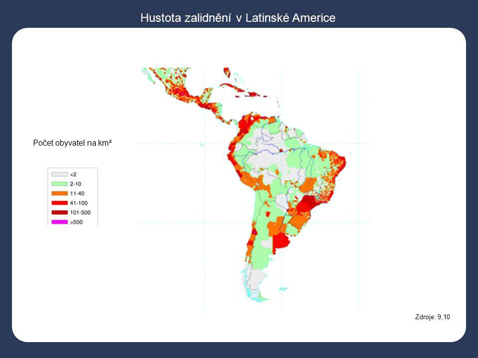 Hustota zalidnění v Latinské Americe