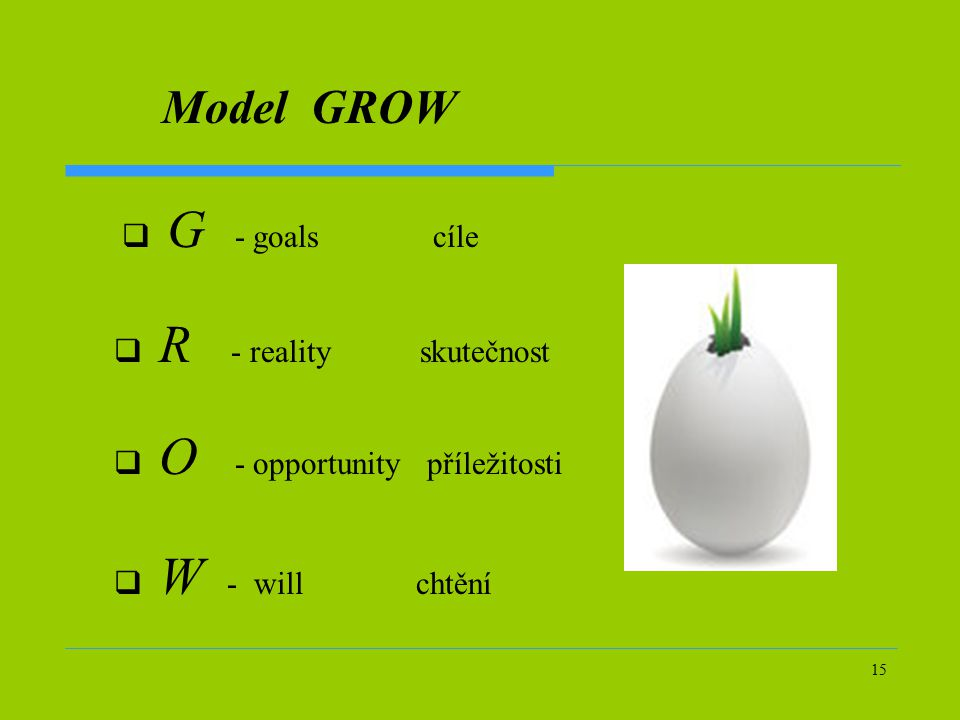 Model GROW G - goals cíle R - reality skutečnost