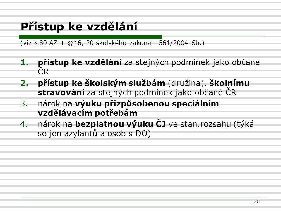 Přístup ke vzdělání (viz § 80 AZ + §§16, 20 školského zákona - 561/2004 Sb.) přístup ke vzdělání za stejných podmínek jako občané ČR.