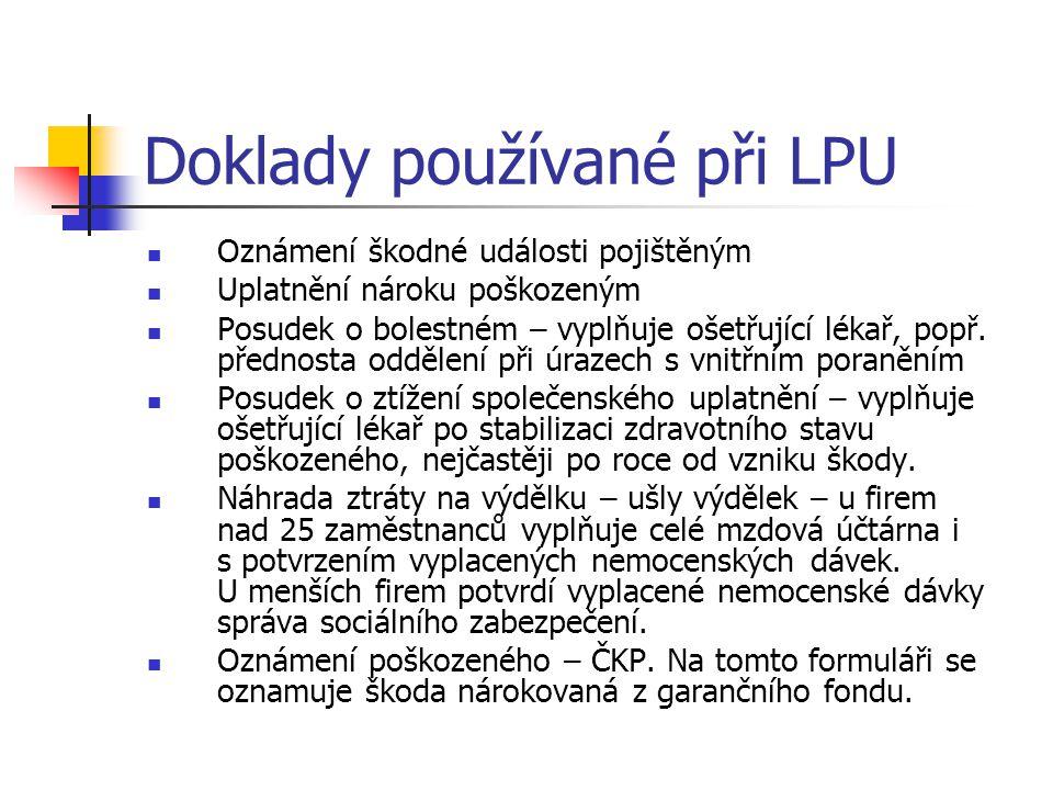 Doklady používané při LPU