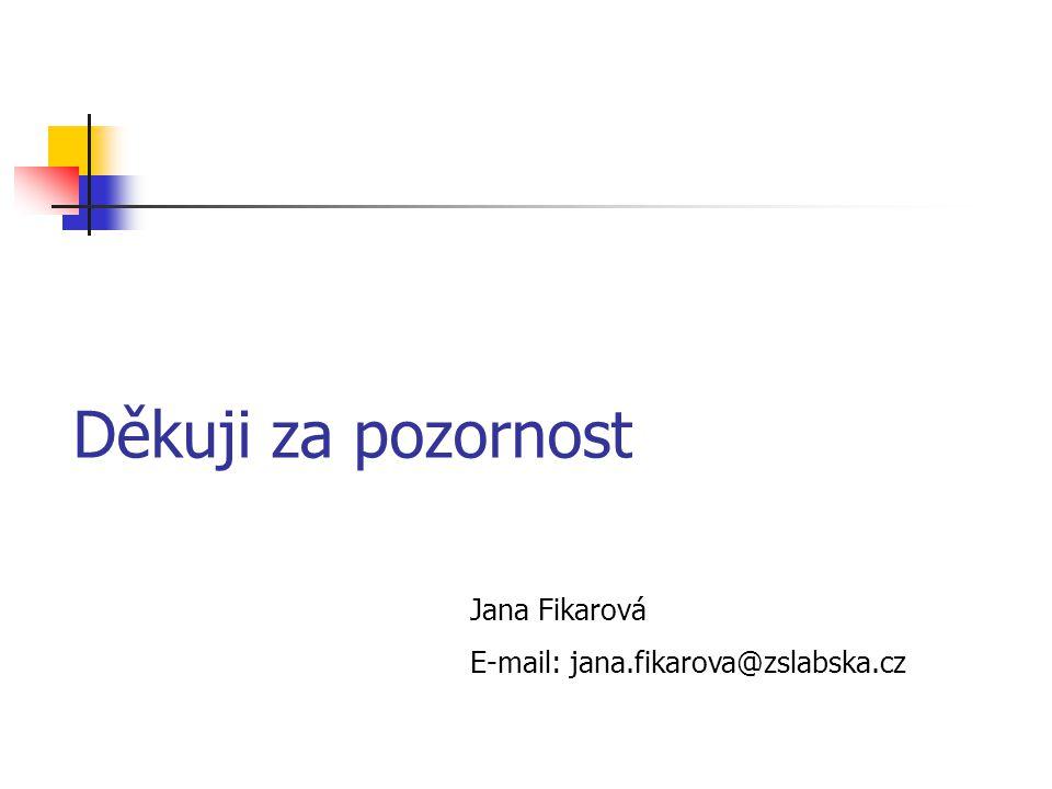 Děkuji za pozornost Jana Fikarová E-mail: jana.fikarova@zslabska.cz
