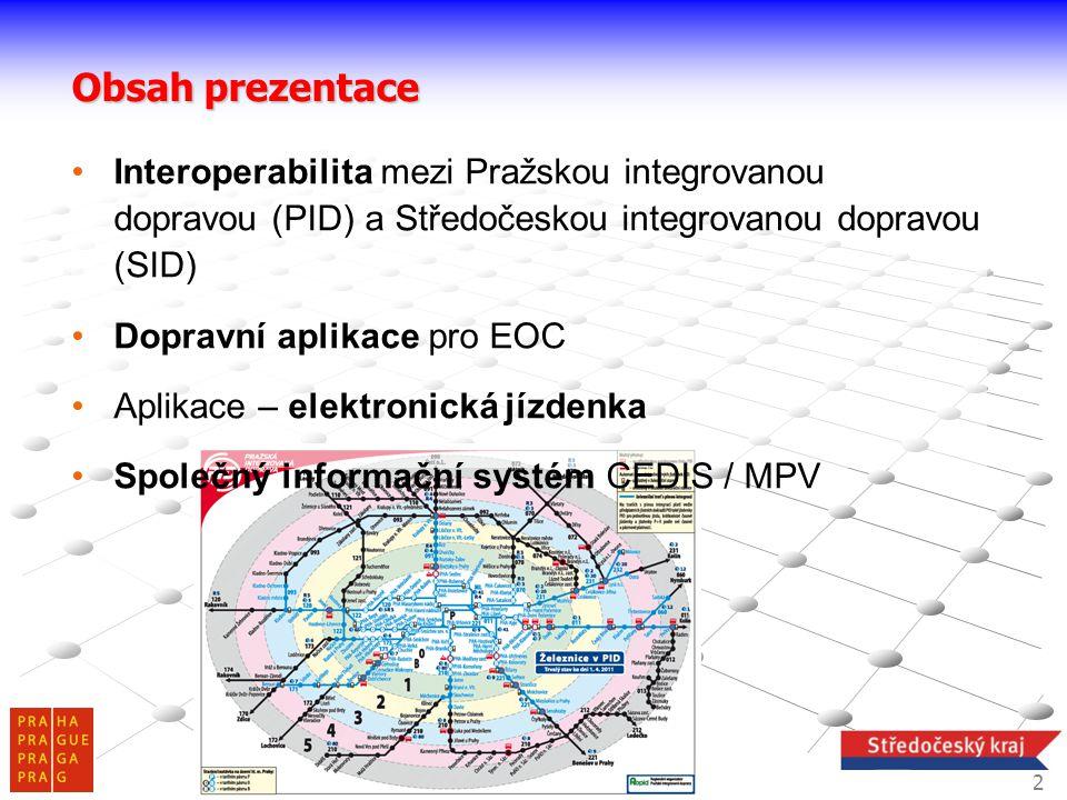 Obsah prezentace Interoperabilita mezi Pražskou integrovanou dopravou (PID) a Středočeskou integrovanou dopravou (SID)