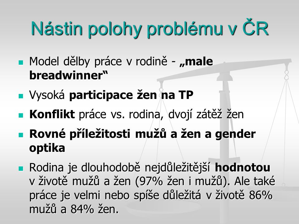 Nástin polohy problému v ČR