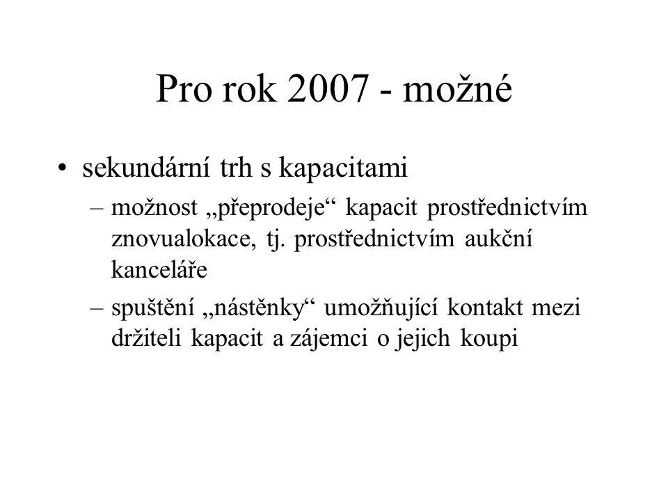 Pro rok 2007 - možné sekundární trh s kapacitami