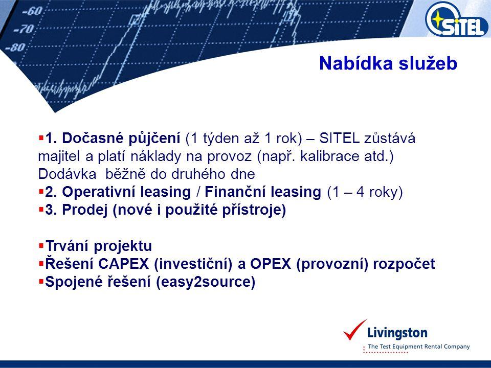 Nabídka služeb 1. Dočasné půjčení (1 týden až 1 rok) – SITEL zůstává majitel a platí náklady na provoz (např. kalibrace atd.)