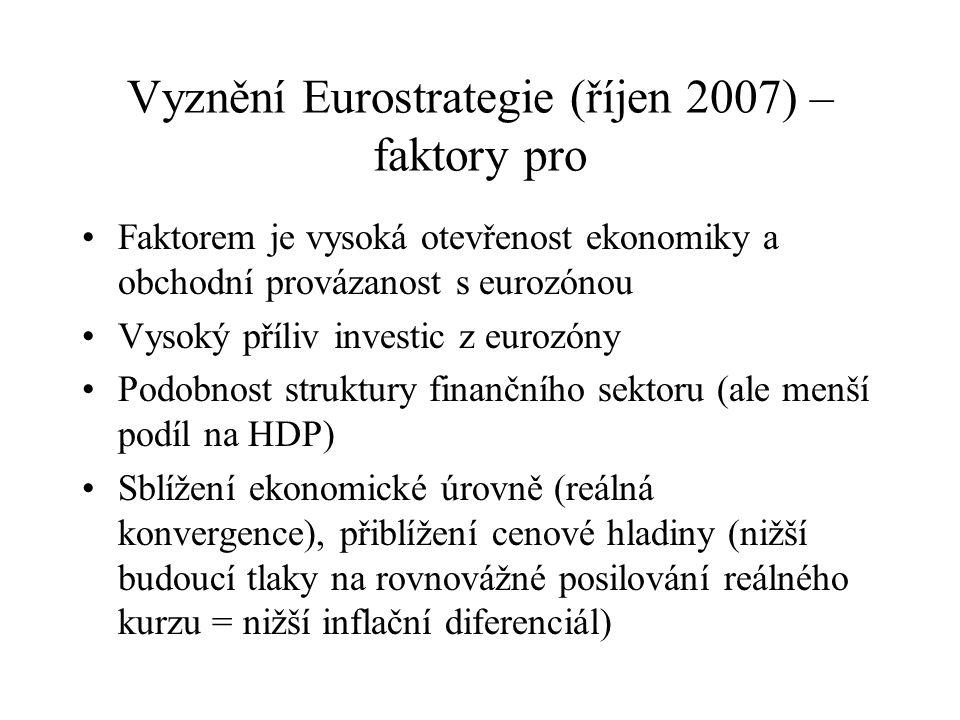 Vyznění Eurostrategie (říjen 2007) – faktory pro