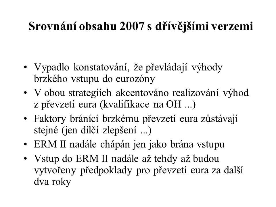 Srovnání obsahu 2007 s dřívějšími verzemi