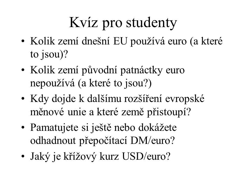 Kvíz pro studenty Kolik zemí dnešní EU používá euro (a které to jsou)