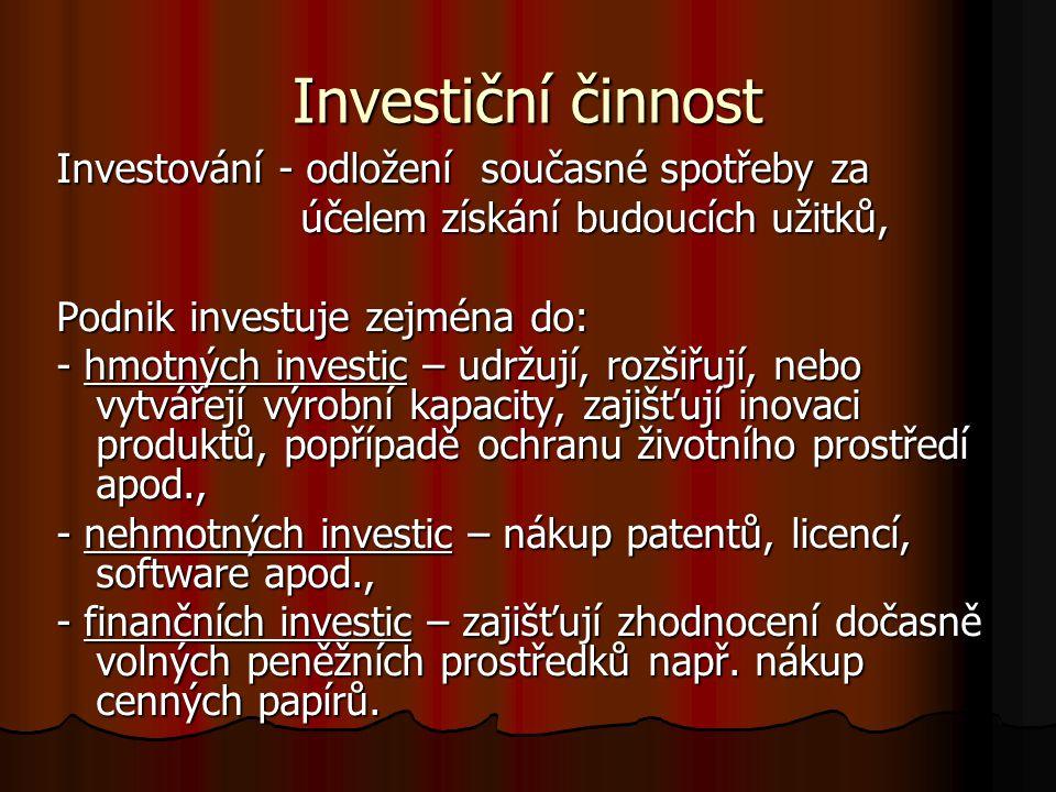 Investiční činnost Investování - odložení současné spotřeby za