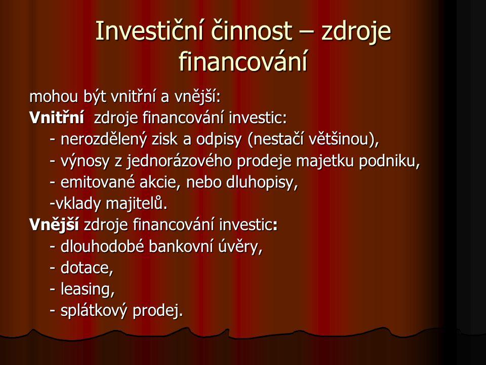 Investiční činnost – zdroje financování