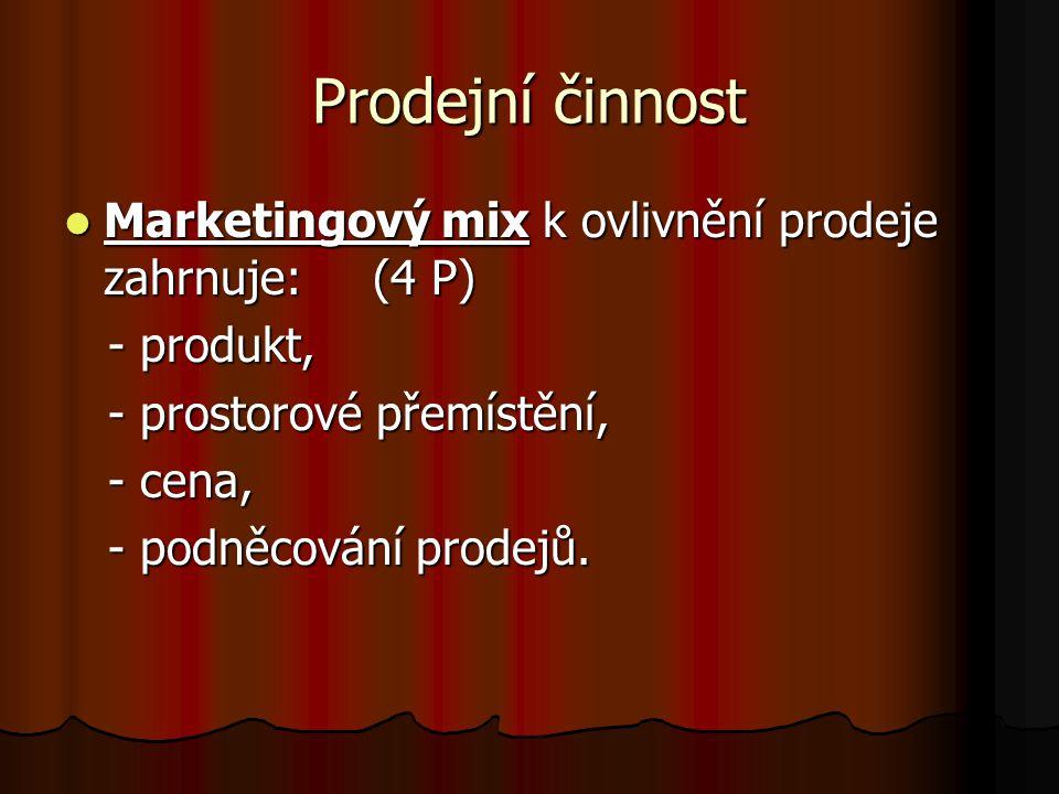 Prodejní činnost Marketingový mix k ovlivnění prodeje zahrnuje: (4 P)