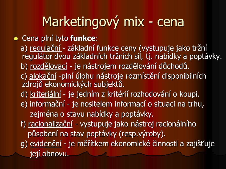 Marketingový mix - cena