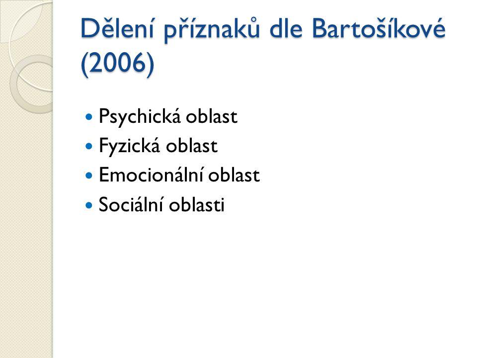 Dělení příznaků dle Bartošíkové (2006)