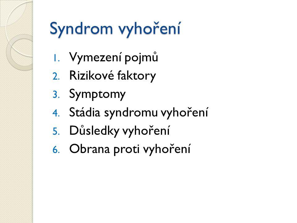 Syndrom vyhoření Vymezení pojmů Rizikové faktory Symptomy