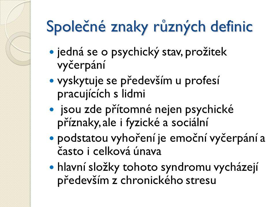 Společné znaky různých definic