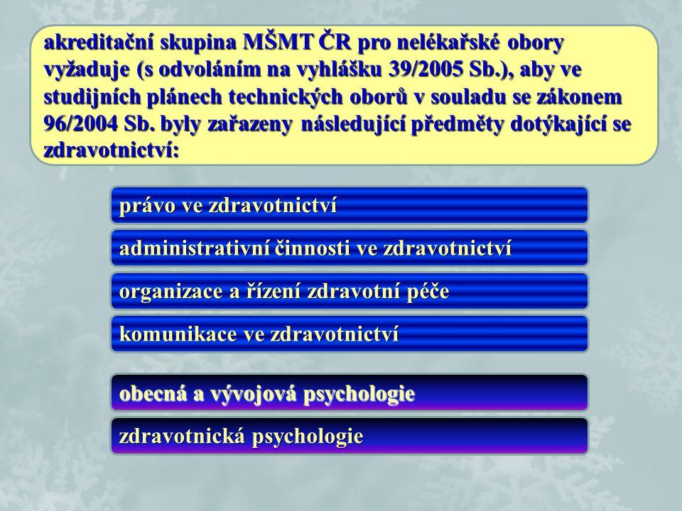 akreditační skupina MŠMT ČR pro nelékařské obory vyžaduje (s odvoláním na vyhlášku 39/2005 Sb.), aby ve studijních plánech technických oborů v souladu se zákonem 96/2004 Sb. byly zařazeny následující předměty dotýkající se zdravotnictví: