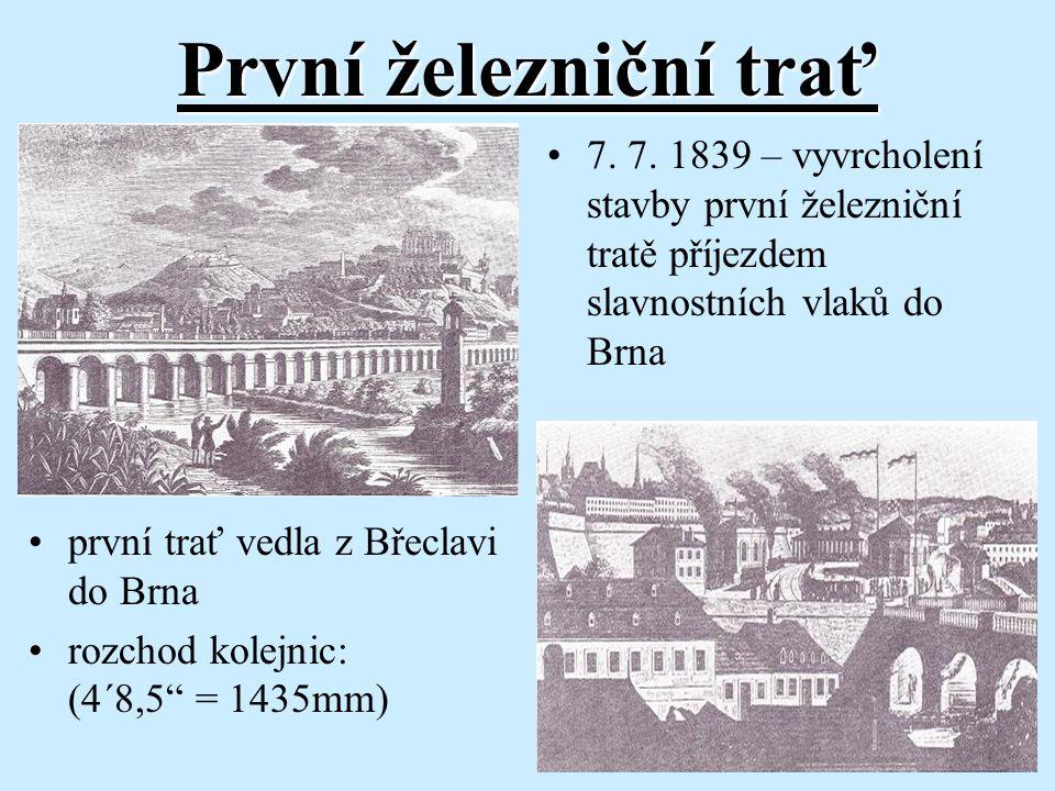 První železniční trať 7. 7. 1839 – vyvrcholení stavby první železniční tratě příjezdem slavnostních vlaků do Brna.