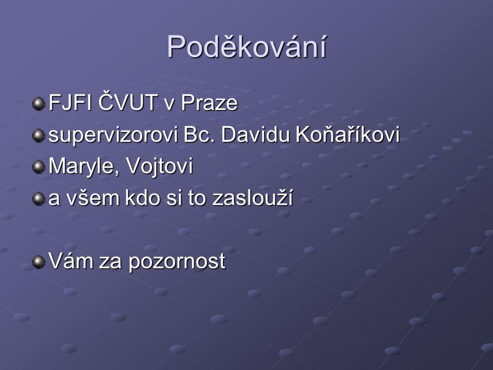 Poděkování FJFI ČVUT v Praze supervizorovi Bc. Davidu Koňaříkovi