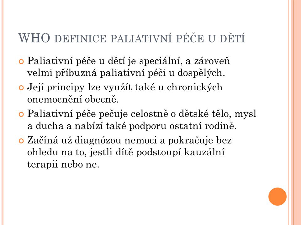 WHO definice paliativní péče u dětí