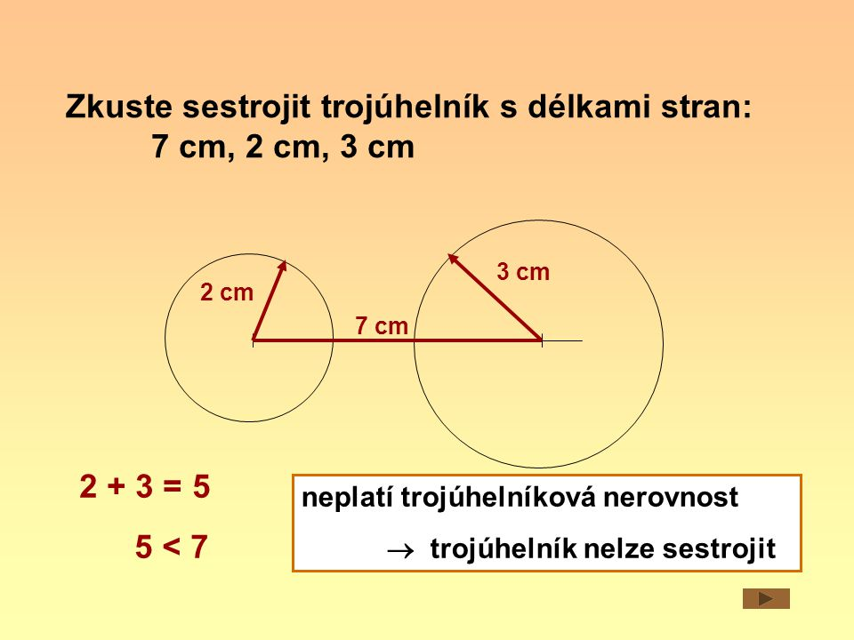 Zkuste sestrojit trojúhelník s délkami stran: 7 cm, 2 cm, 3 cm