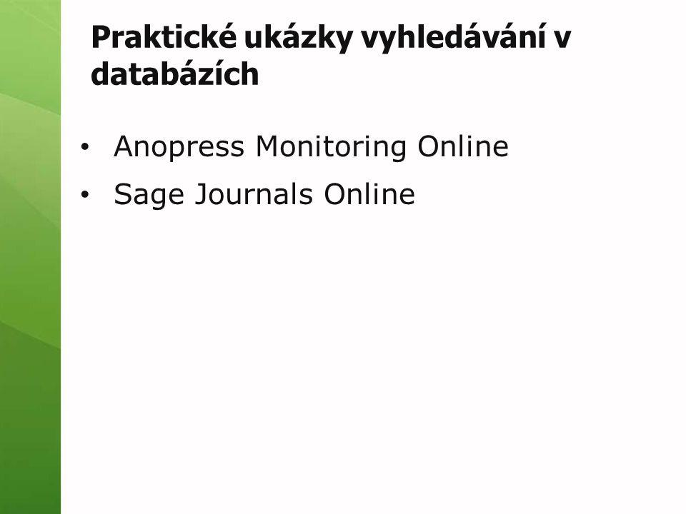 Praktické ukázky vyhledávání v databázích